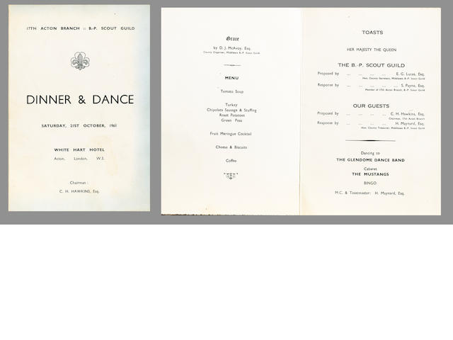 A Dinner & Dance programme from the White Hart Hotel, Acton, 21st October 1961,