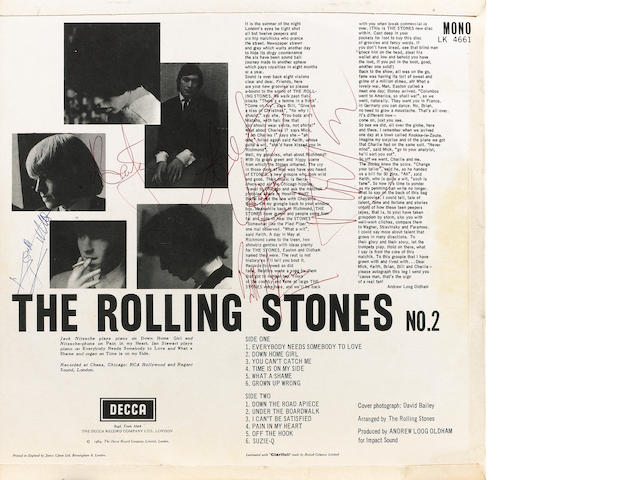An autographed copy of the album 'The Rolling Stones No.2', 1964,