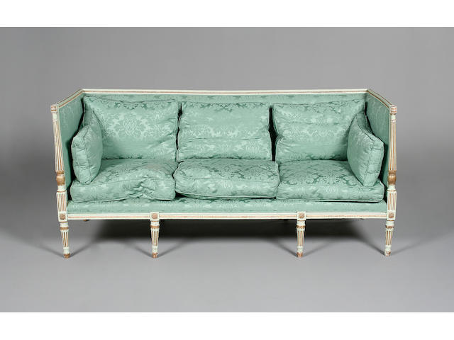 A George III painted and gilt sofa