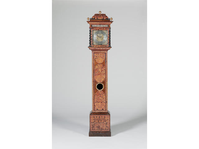 A good late 17th century walnut and marquetry inlaid long case clock of one-month duration Thomas Cattell, London