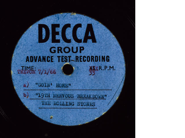 An acetate recording by the Rolling Stones, 1965,
