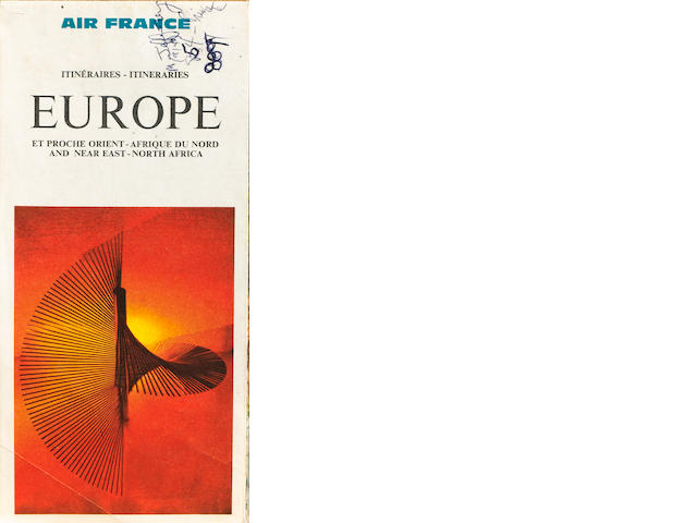 An Air France map of Europe annotated by Jimi Hendrix,