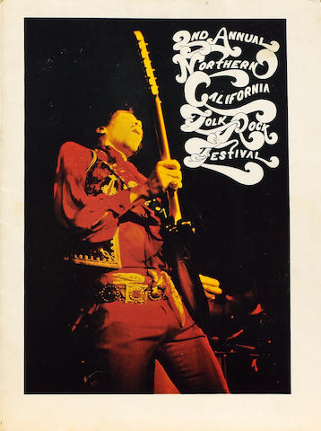 A programme for Jimi Hendrix at the 2nd Annual Northern California Folk Rock Festival,