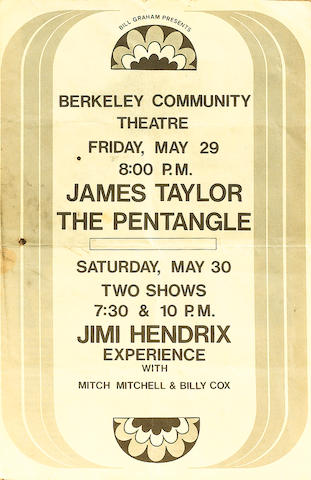 A programme for the Jimi Hendrix Experience at the Berkeley Community Theatre, 30th May 1970,