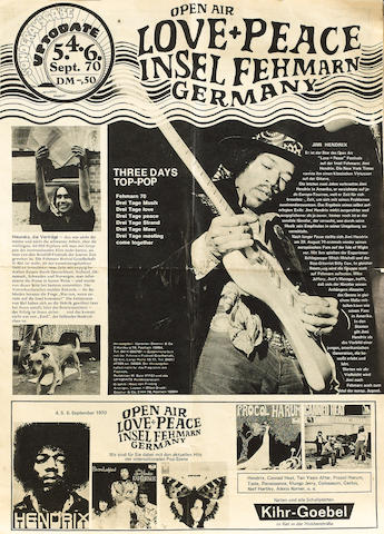 A rare programme for Jimi Hendrix at the 'Open Air Love & Peace Festival', Isle of Fehrmarn, Germany, 4-6 September 1970