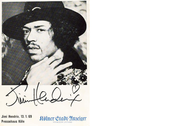 A good signed publcity photograph of Jimi Hendrix, 1969,