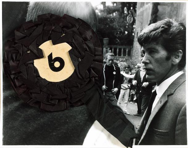An original 'No. 6' rosette from the cult TV series 'The Prisoner', starring Patrick McGoohan, 1960s
