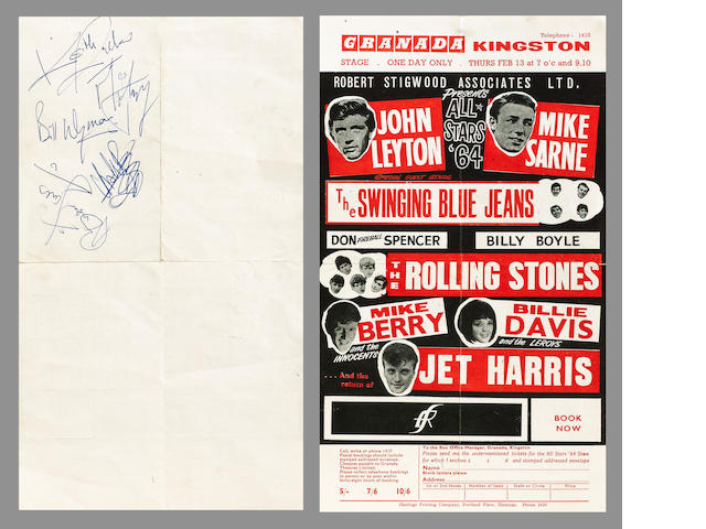 An autographed handbill for the Rolling Stones at the Granada, Kingston, 13th February 1964,