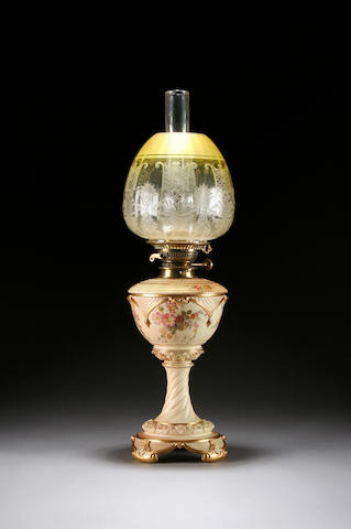 A Royal Worcester blush ivory oil lamp, dated 1895