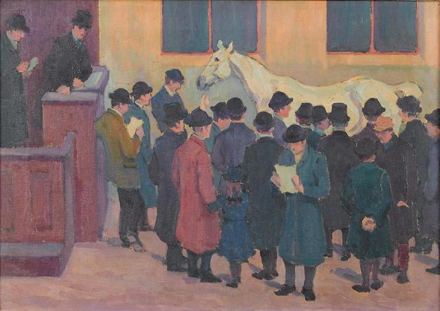 Robert Polhill Bevan (British, 1865-1925) Under the Hammer 39.5 x 56 cm. (15 1/2 x 22 in.)