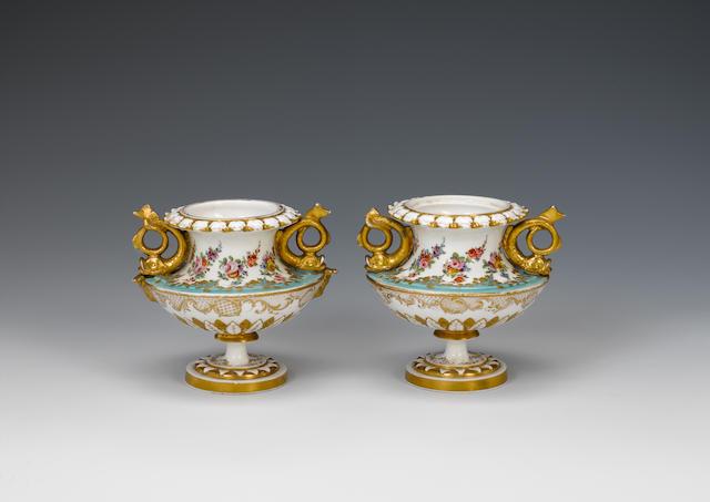 A very rare pair of Nantgarw vases circa 1818-20