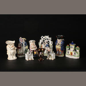 A collection of six Staffordshire pottery items