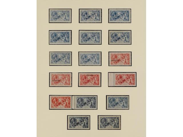 1915 De La Rue: 10/- pale blue, o.g., fine
