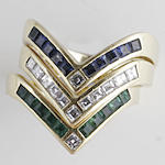 An 18ct gold triple diamond, sapphire and emerald ring