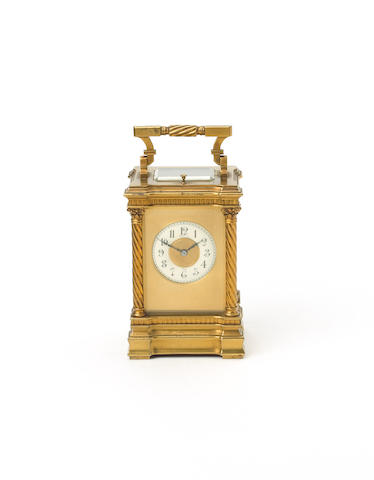 An early 20th Century French repeating carriage clock, retailed by Maple and Co.