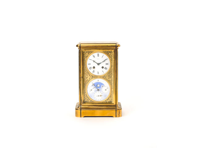 A late 19th century French four-glass clock with perpetual calendar Achilles Brocot, the dial signed by the retailer Achilles Brocot