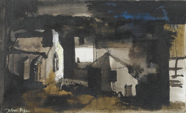 John Piper C.H. (British, 1903-1992) Herefordshire - Farmyard Chapel 14.5 x 23.5 cm. (5 3/4 x 9 1/4 in.)