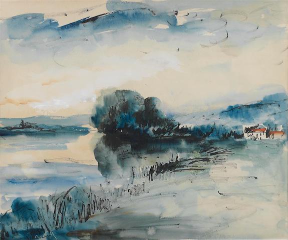 Maurice de Vlaminck (French, 1876-1958) Bord de L'oise 43.5 x 52 cm. (17 1/8 x 20 1/2 in.)