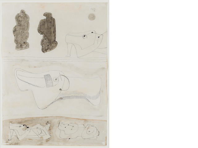 Henry Moore O.M., C.H. (British, 1898-1986) Sketches for reclining figures 37.5 x 27.5 cm. (14 3/4 x