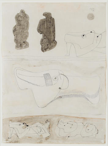 Henry Moore O.M., C.H. (British, 1898-1986) Sketches for Reclining Figures 37.5 x 27.5 cm. (14 3/4 x 10 3/4 in.)