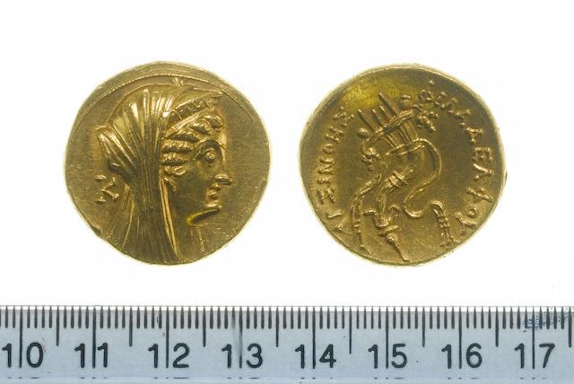 Ptolomaic, Kingdom of Egypt, Ptolomey II, Philadelphos (285-246 BC), gold Octodrachm, 27.8g, Veiled head of Arsinoe II right, wearing stephane,