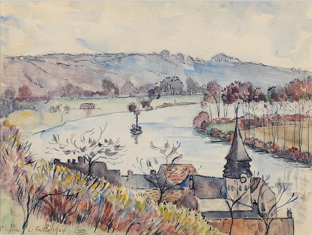 Lucien Pissarro (French, 1863-1944) 'L'Eglise, La Frette' 15 x 20 cm (5 7/8 x 7 7/8 in)