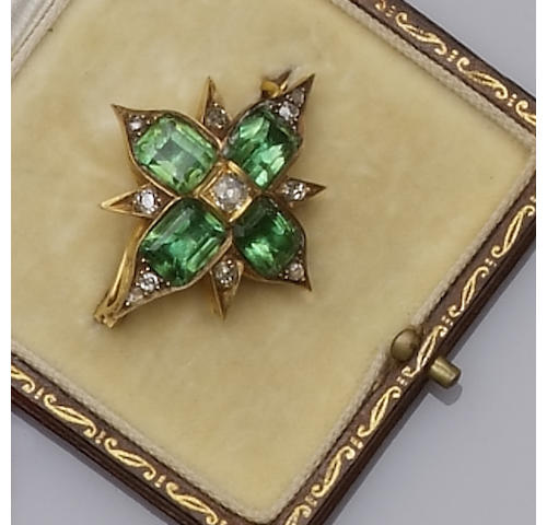 A late 19th century emerald and diamond brooch/pendant,