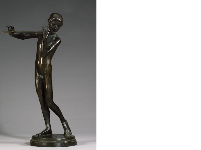 Benno Elkan (German, 1877-1960): A bronze figure of a boy flutist