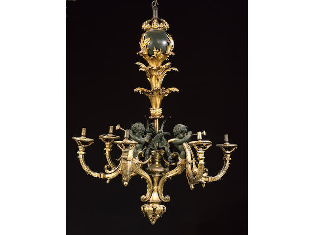A French gilt and patinated bronze six light chandelier in the Louis XV style, circa 1900,