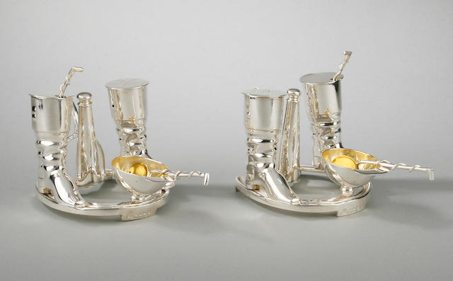 A pair of electroplate cruets by Elkington & Co., early 20th Century,