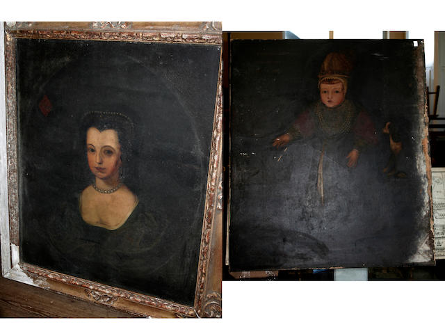 A 19th century school portrait of Francys Lord Clifford, April 10th, 1584 - December 11th 1589, 99 x 87cm (unframed, a/f) and a companion portrait of Lady Ann Clifford, 75 x 62cm, framed
