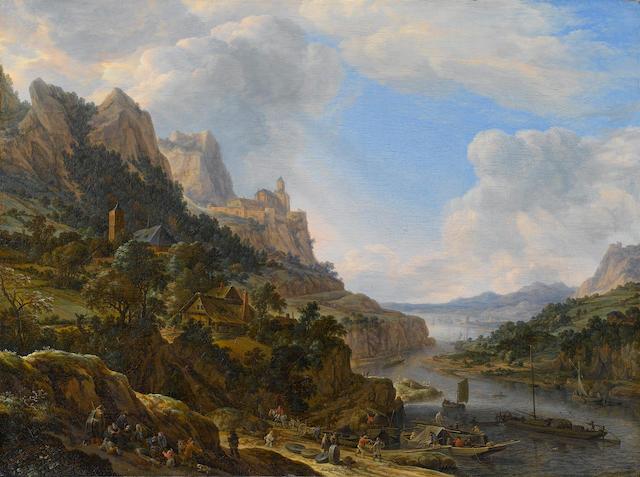Herman Saftleven (Rotterdam circa 1609-1685 Utrecht) A Rhenish riverlandscape 53.4 x 71.2 cm. (21 x