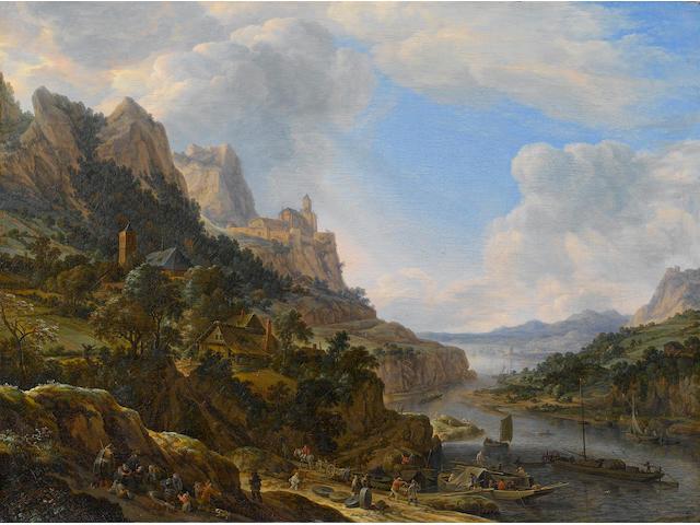 Herman Saftleven (Rotterdam circa 1609-1685 Utrecht) A Rhenish riverlandscape 53.4 x 71.2 cm. (21 x 28 in.)