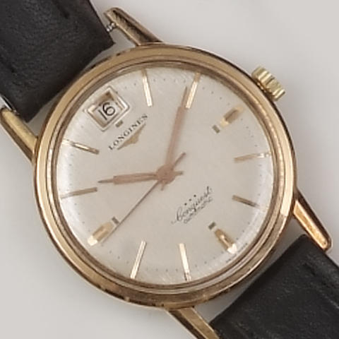 Longines: A gold plated automatic gentleman's wristwatch,