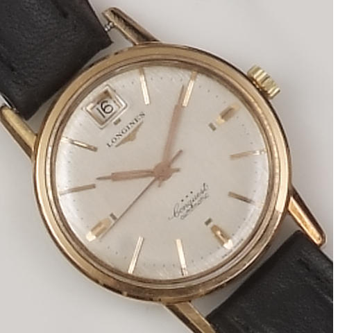 Longines: A gold plated automatic gentleman's wristwatch