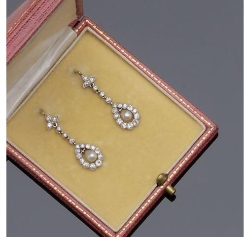 A pair of pearl and diamond earpendants