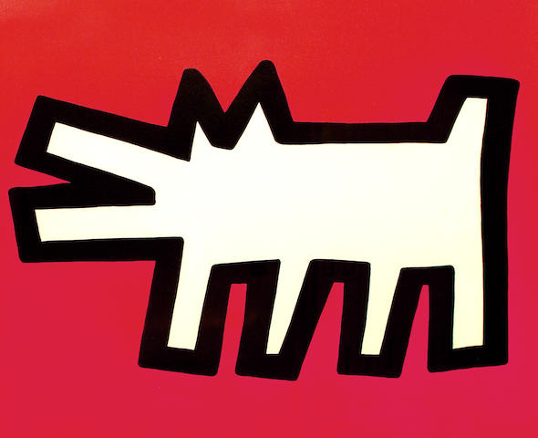 Keith Haring (American, 1958-1990) 'Barking Dog' from 'Icons' (Littmann P 170-171), 1990