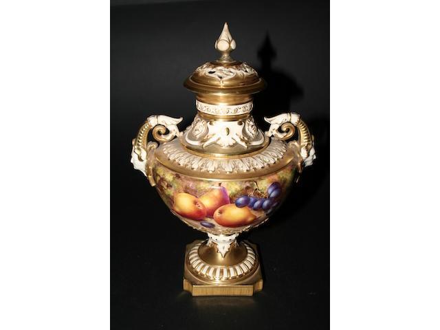 A Royal Worcester pedestal vase by John Freeman, post-war