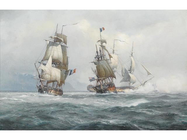 Derek George Montague Gardner (British, 1914-2007) Nelson's 'Agamemnon', 64 guns, with 'Ca Ira', 80 guns, in tow of Vestale, 36 guns, 13th. March 1795 40.7 x 61cm. (16 x 24in.)