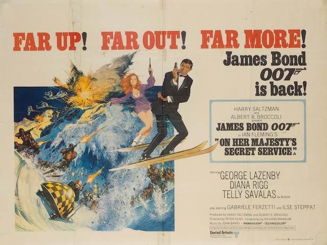 Two James Bond UK Quad posters, 1969-1971, including,