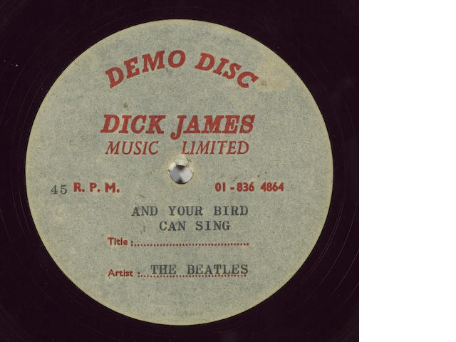 An acetate recording of 'And Your Bird Can Sing', 1966,