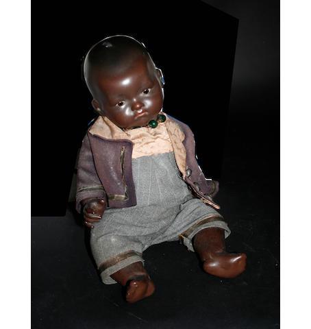 An Armand Marseille bisque head black doll,