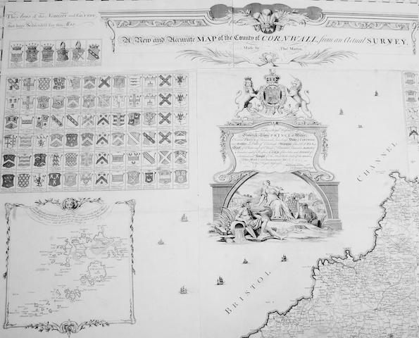 Thomas Martin A large 'New and Accurate Map of the County of Cornwall' (scale 1 inch to 1 mile) circa 1748, uncoloured, in 145 x 183cm sections and unframed  See illustration