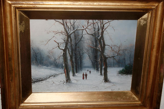 N H Christiansen (late  19th/early 20th Century Danish School) Winter scene with figures on a tree lined avenue, on board under glass, 22 x 29cm