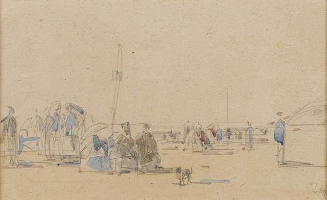 Eugène Louis Boudin (French, 1824-1898) La plage 12.5 x 20.5 cm(4 5/8 x 8 1/8 in)