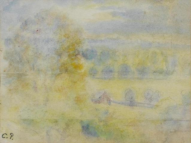 Camille Pissarro (French, 1830-1903) Coucher du soleil à Eragny 12 x 15.6 cm (4 3/4 x 6 1/8 in)