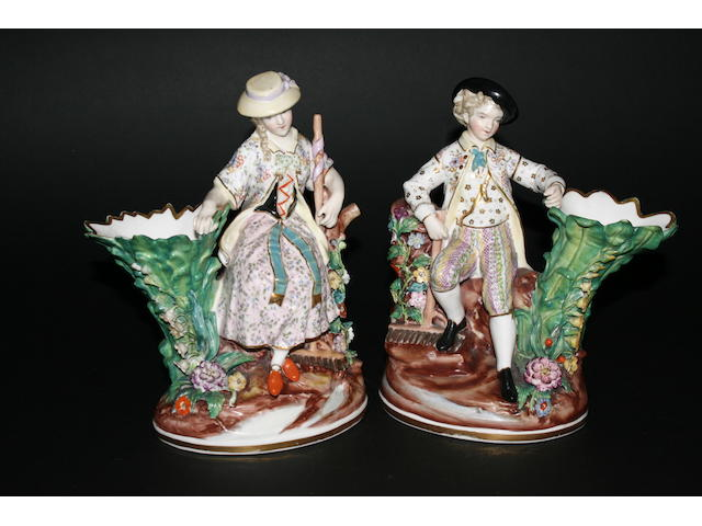 A pair of John Bevington figural spill vases, circa 1880