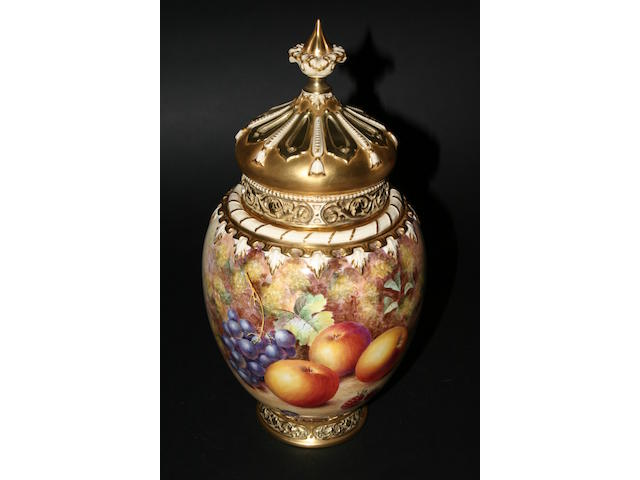 A Royal Worcester pot pourri vase and cover by James Freeman, post war