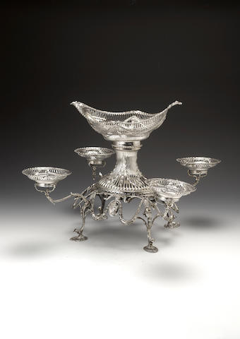 A Victorian silver épergne by William Gibson & John Langman, retailed by The Goldsmiths and Silversm