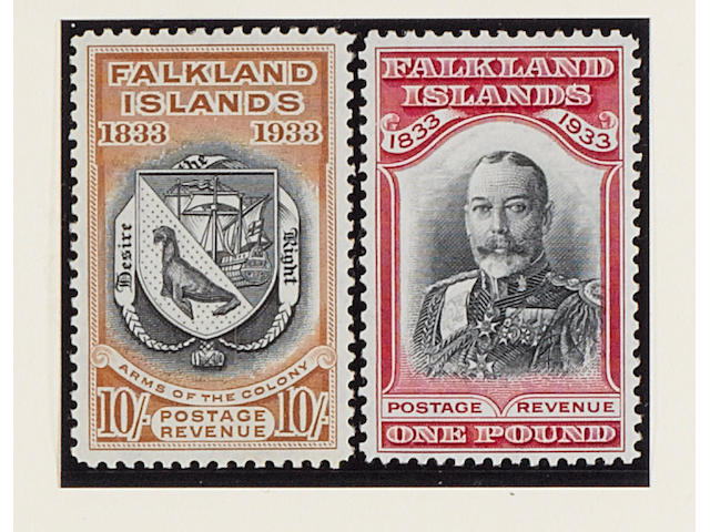 Falkland Islands: 1933 Centenary ½d. to £1 set mint, 5/- with a short perf. and £1 with slight gum disturbance otherwise mainly fine and fresh. SG £3,000. (194)
